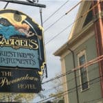 The sign outside our Provincetown Hotel, Gabriels Wooden Sign
