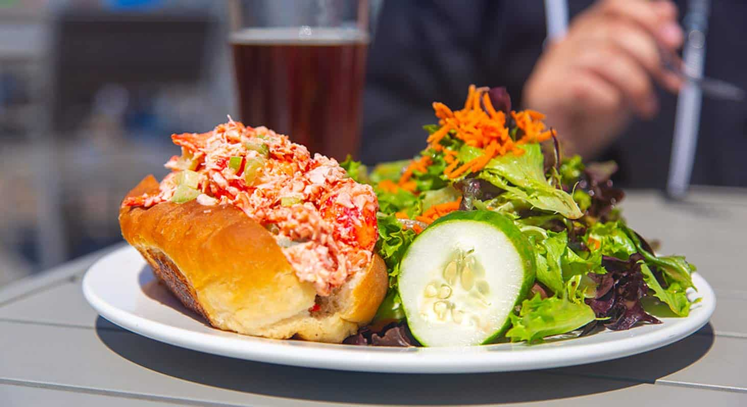 Close up of a lobster roll with side salad