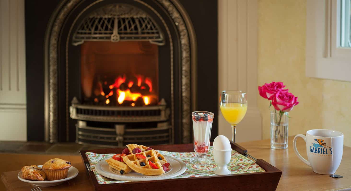 Breakfast in front of the fire at beautiful Provincetown, MA hotel