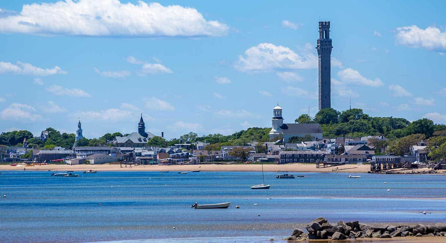 A view of Provincetown from across the harbor at the tip of Cape Cod