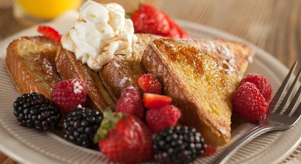 Breakfast included, french toast and berries