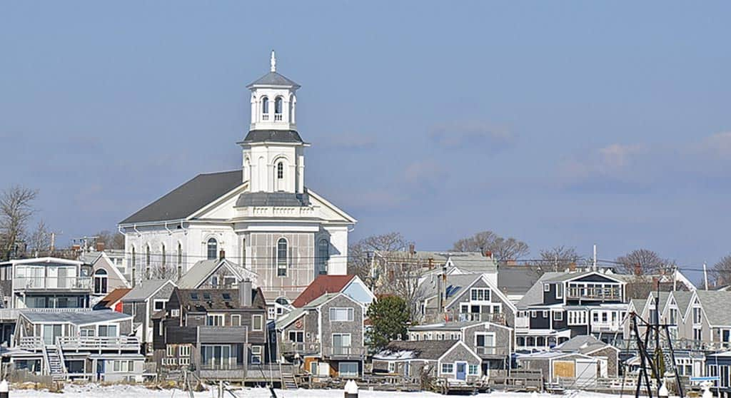 View of Provincetown from the pier in winter