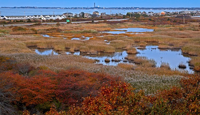 Provincetown in the Fall from the beach looking towards town