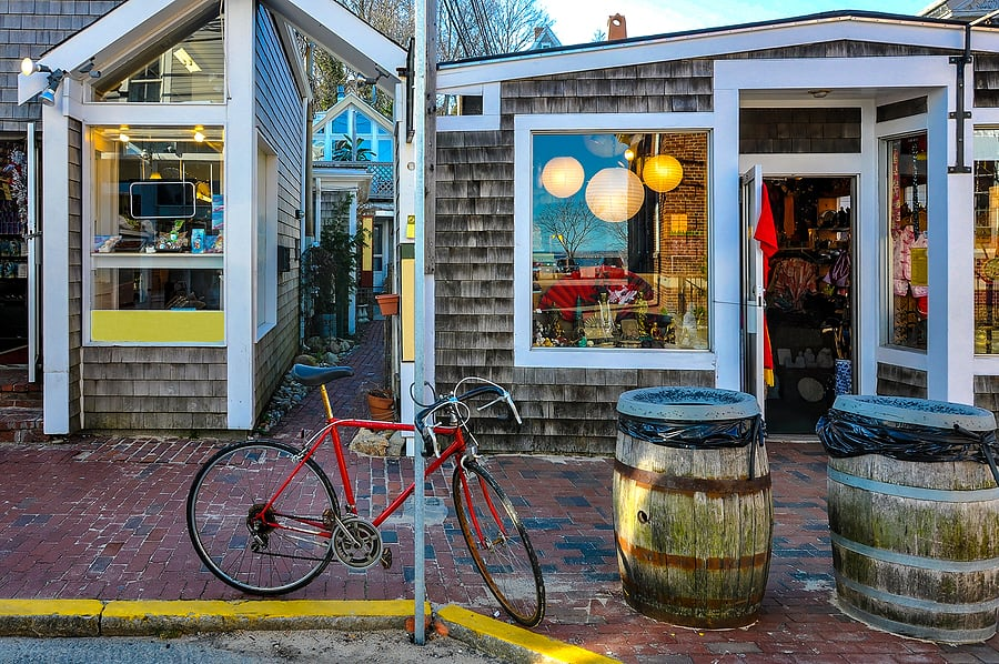 Old Bike In Front Of Provincetown Shops