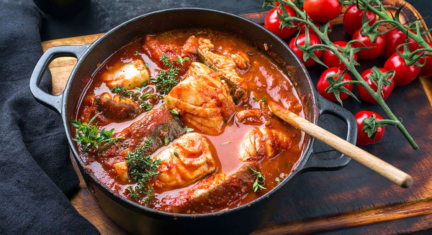 Fish stew, made with cod and tomato sauce